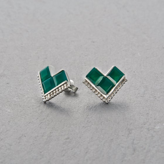 Image of Nallur Green Onyx Earrings Silver