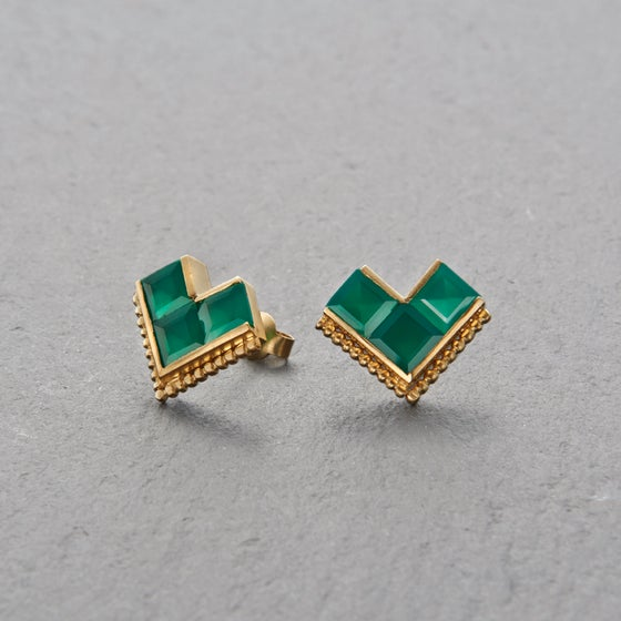 Image of Nallur Green Onyx Earrings Gold