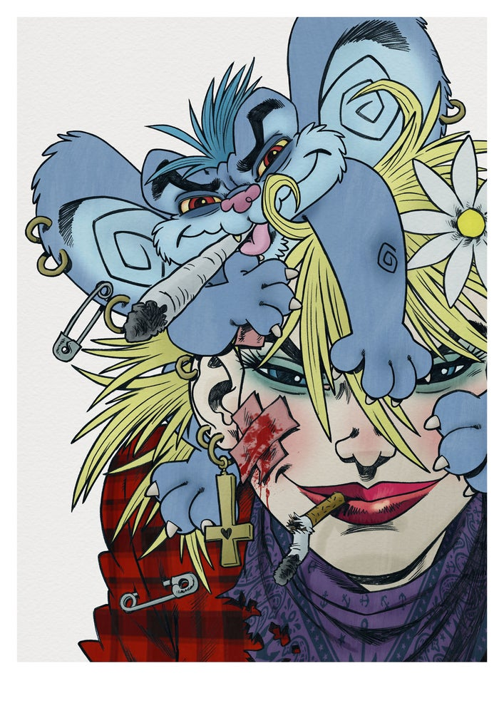 Image of 'My Drug Buddy' limited edition Giclée print - Rufus Dayglo art