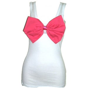 Image of Stunning Hot Pink Bow/White Vest