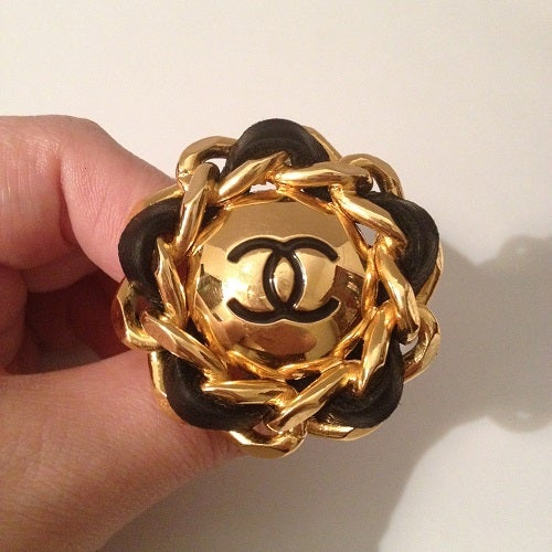 Image of SOLD OUT Chanel VINTAGE 2.55 Gold Chain Leather XL Medallion CC Earrings