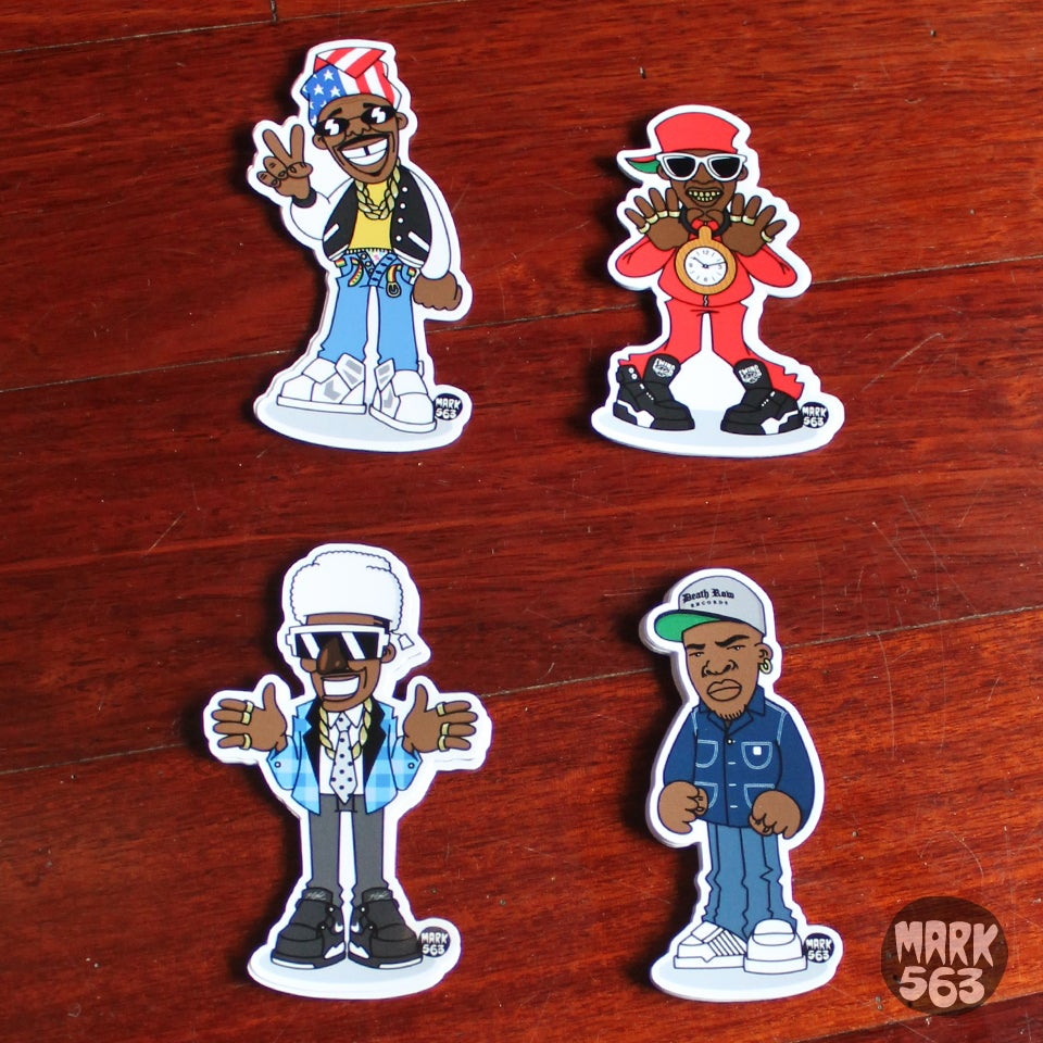 Image of Sticker pack: Evolution Of The B-Boy Series 3 including Humpty Hump, Flavor Flav, Dr. Dre & Luke