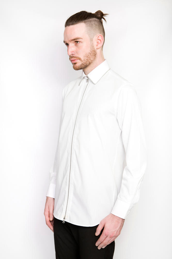 Image of Ⅲ Silver/White Zip Shirt
