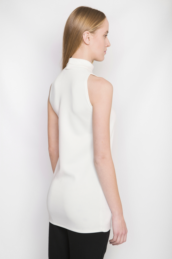 Image of Ⅲ Turtle Neck Ivory Lightweight Neoprene Dress/Top