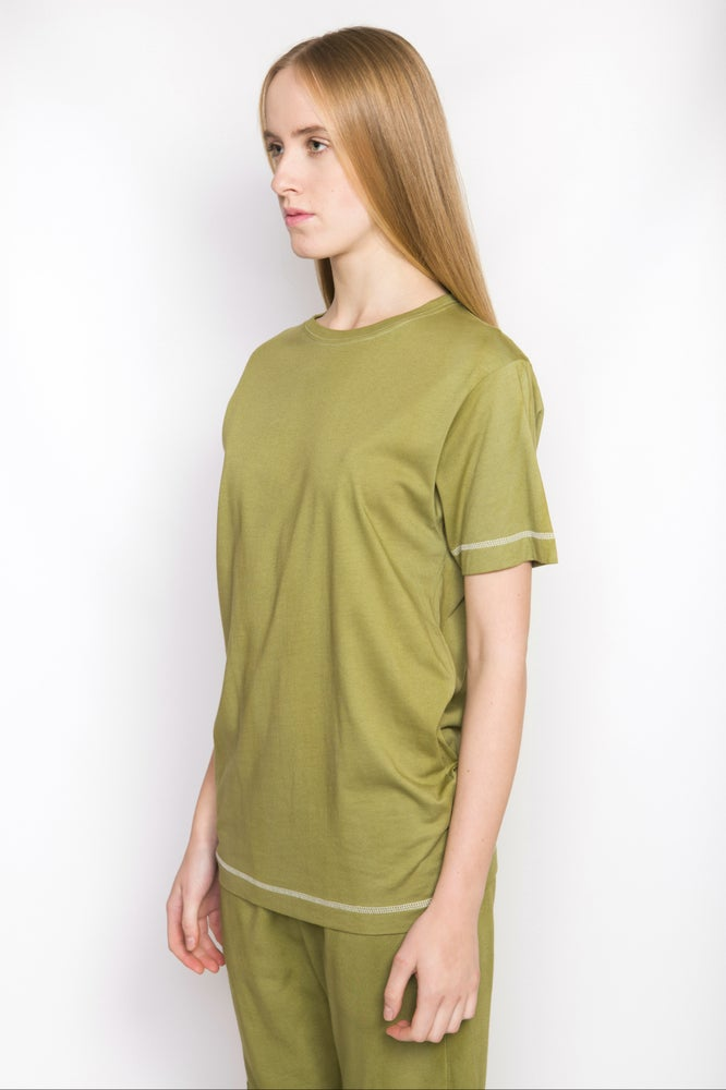 Image of Ⅲ W Basic Olive Green T-Shirt