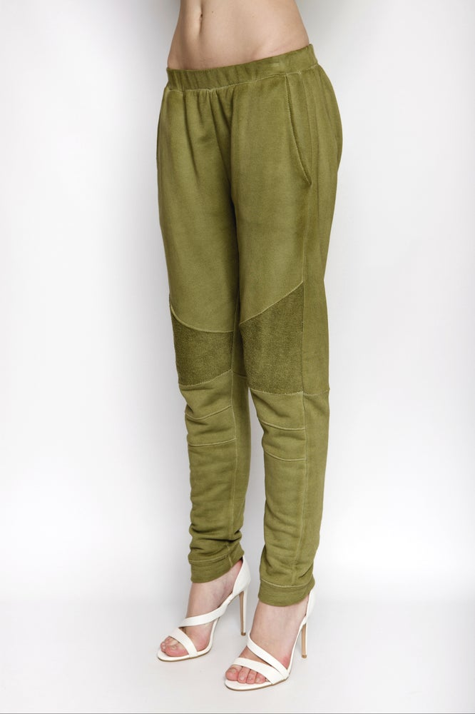 Image of Ⅲ Olive Green Panelled Sweatpants - W