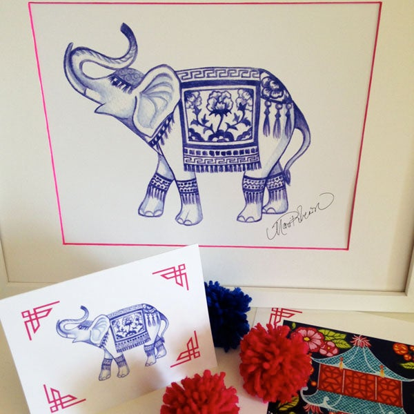 Image of Blue Elephant Art Print
