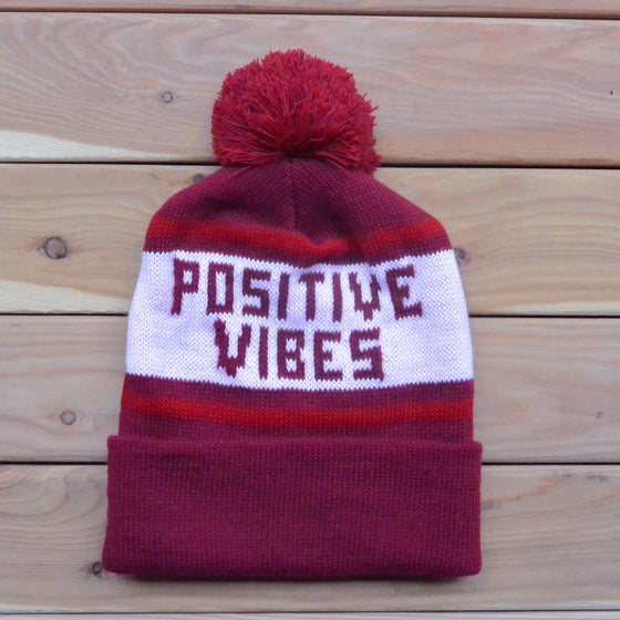Image of Burgundy Positive Vibes Knit Beanie