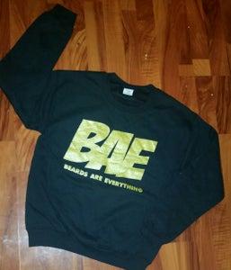 "Image of Black and Gold ""BAE"" CREWNECK no"
