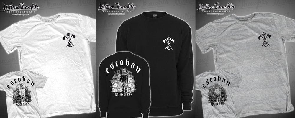 "Image of Escoban T-shirt ""Nation of Rats"" S-XL Grey, White and Black Crewneck"