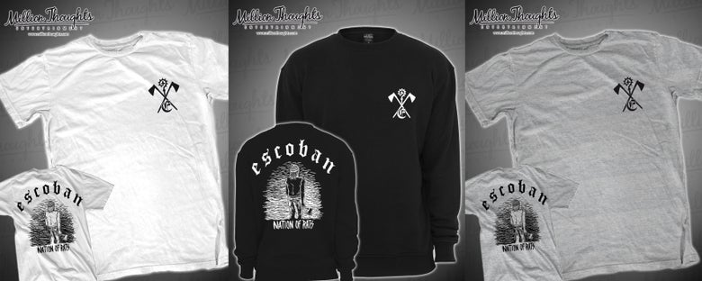 "Image of Escoban T-shirt ""Nation of Rats"" S-XL Grey, White and Black Crewneck"