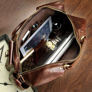Image of Handmade Superior Leather Business Travel Bag / Tote / Messenger / Duffle Bag / Weekend Bag (n62)