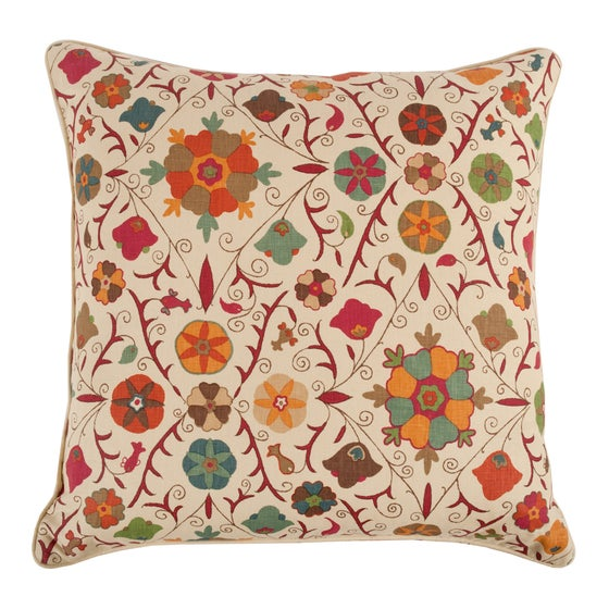 Image of Safi Cherry Red on Champagne Pillow - NEW COLORWAY!!