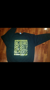 Image of BLACK N GOLD BIG BEARDS BIG BELLY CREWNECK SWEATSHIRT