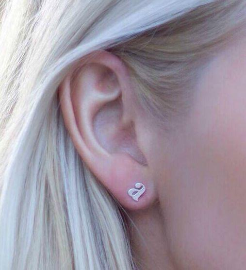 Image of $5. Sale Lowercasae Inital Earrings Gold or Silver