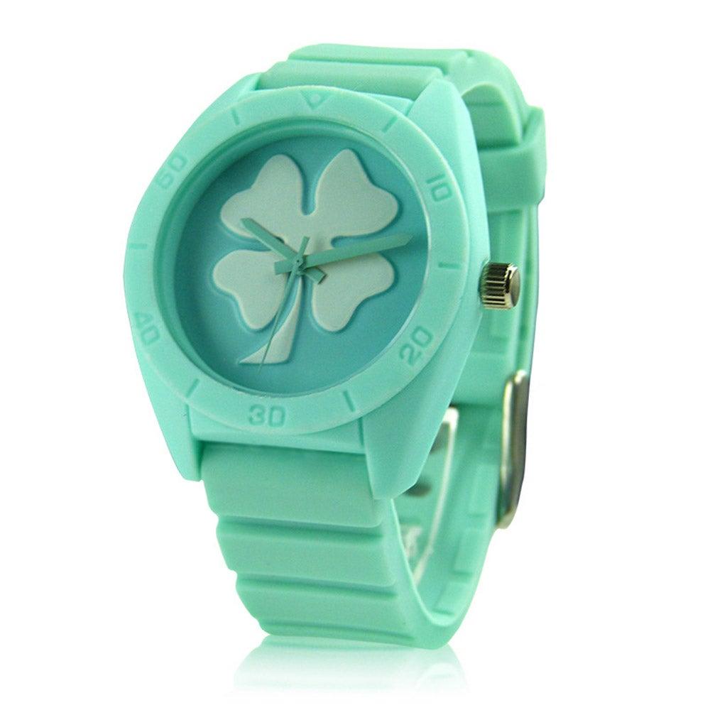 Image of [grxjy51500027]Fashion Silicon Watchband Leaf Clover Quartz Watch