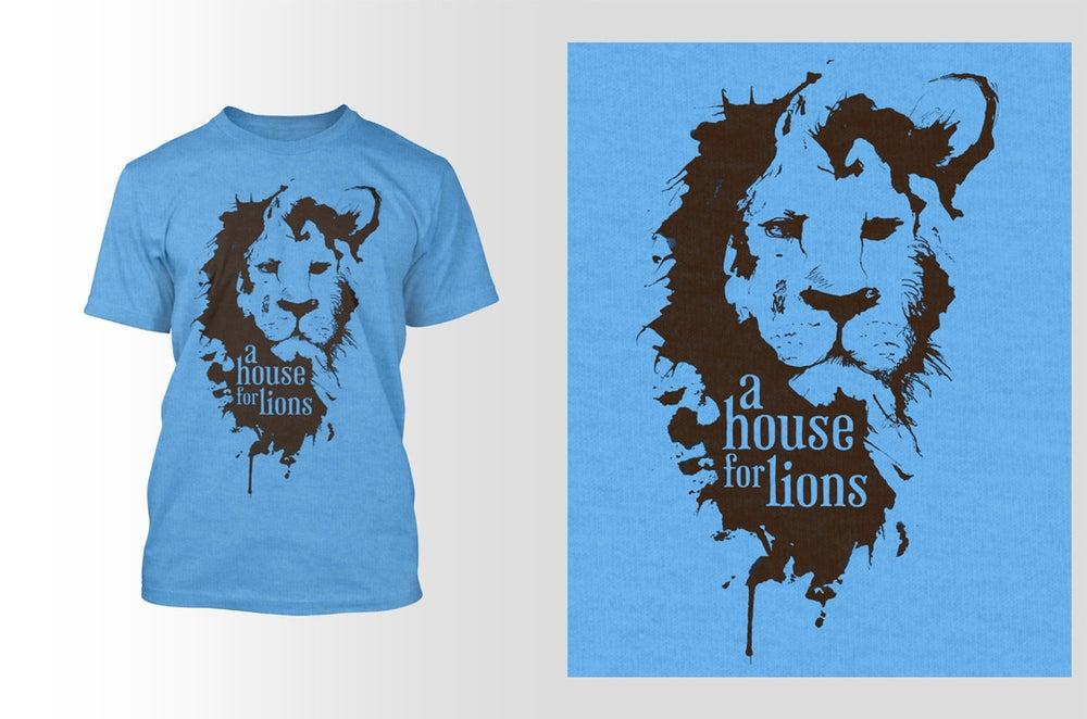 Image of Lion Logo on Heather Blue Tee