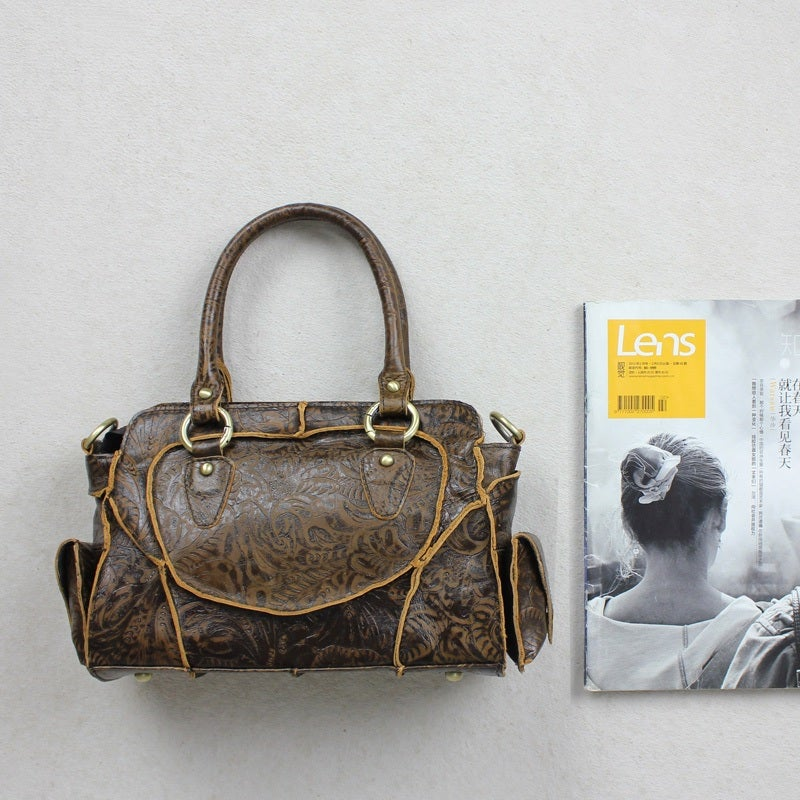 Image of Vintage Handmade Antique Carved Leather Women's Handbag / Purse / Messenger / Shoulder Bag (m11s)