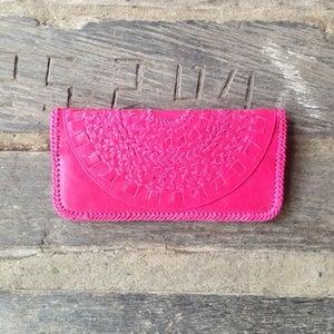 Image of Mandala Leather Clutch (Pink)