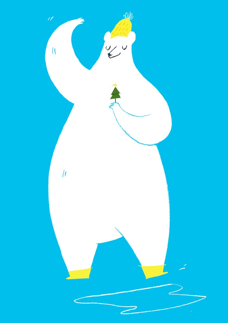 Image of 'Polar Bear and tiny christmas tree'