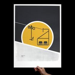 Image of Eames Chairlift Art Print (Screenprint), Snowboard, Ski, Chairlift, Office Art