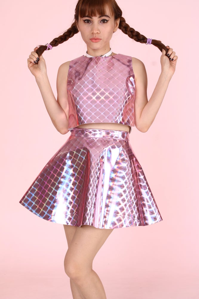 Image of Made To Order - Daniela Pink Crystal Hologram 2 piece Set
