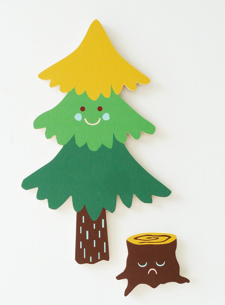Image of PINE TREE SET PLY WALL HANGING