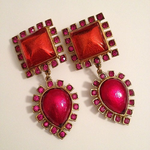 Image of SOLD OUT Yves Saint Laurent YSL Red and Pink Glass Cabochon Runway Earrings