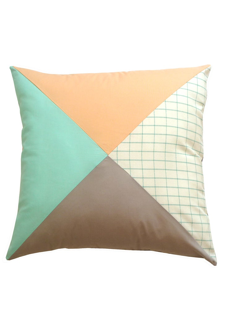 Image of PEACH PATCHWORK CUSHION