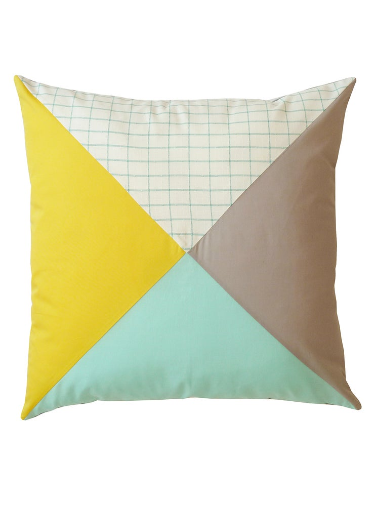 Image of YELLOW PATCHWORK CUSHION