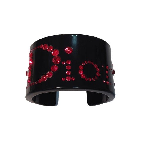 Image of Christian Dior Thick Black Lucite Cuff Wtih Red Rhinestones RARE