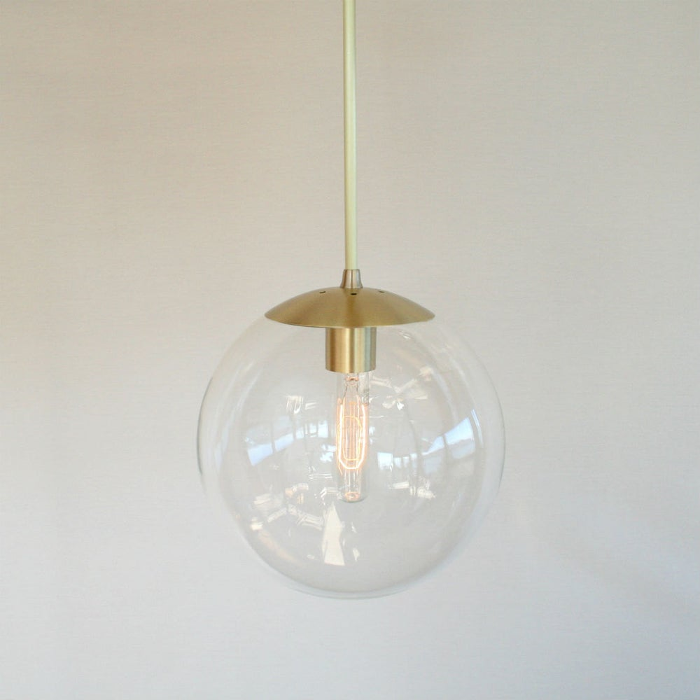 orbiter 10 pendant light with brass stem mid century modern 10 clear glass globe pendant. Black Bedroom Furniture Sets. Home Design Ideas