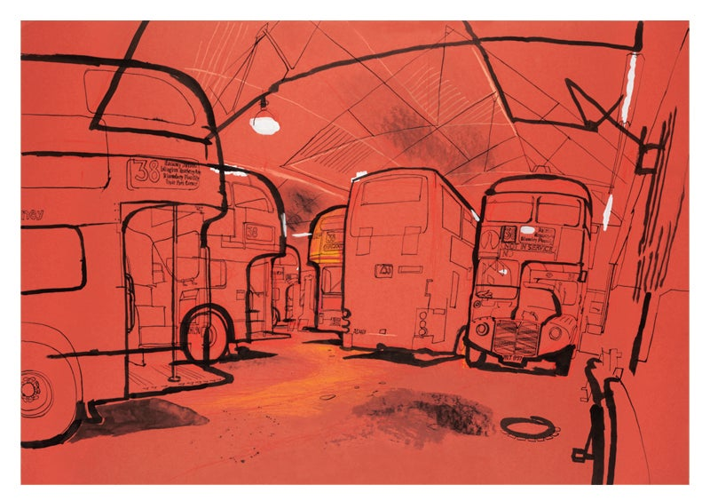 Image of Hackney bus garage - greetings card