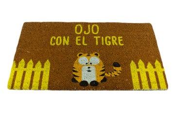 """Felpudos Originales Maceta Colorá Felpudo """"Ojo con el Tigre"""""""