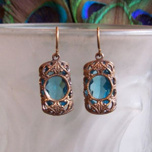 Image of Stained Glass Window Earrings-zircon, ruby, sapphire or emerald