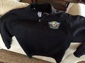 Image of Black FDVG Group Logo Quarter-Zip Sweatshirt with Cadet Collar