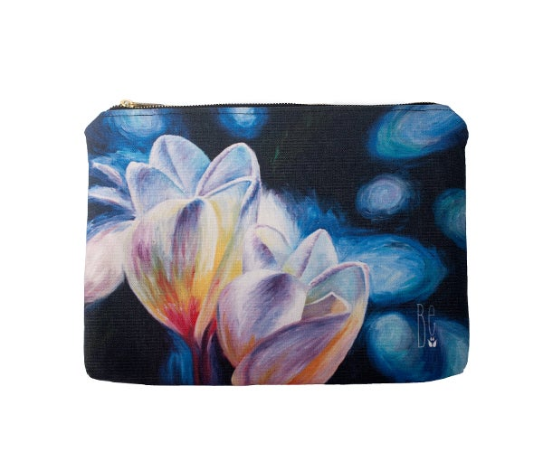 Image of Rainy Day Plumerias Zipper Clutch