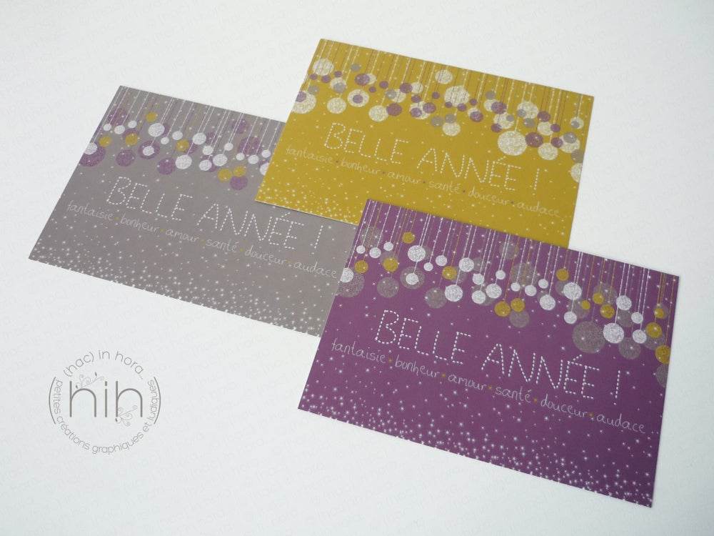 Image of 5 cartes de voeux ✳glitter✳ / moutarde