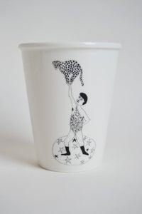 """Image de Gobelet porcelaine """"l'homme leopard"""""""