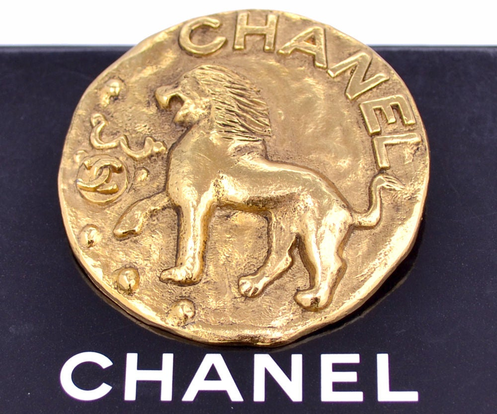 Image of SOLD OUT Chanel Authentic Signed Jumbo Vintage Lion Brooch Pin
