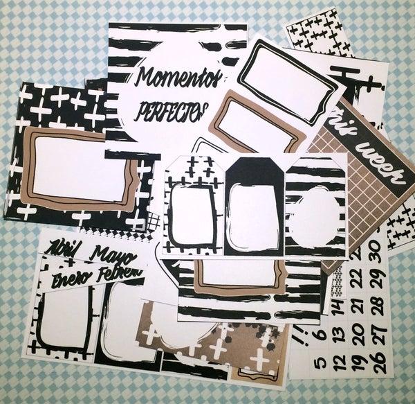 Image of KIT de SCRAPBOOKING 002 - BASIC B/N - KRAFT
