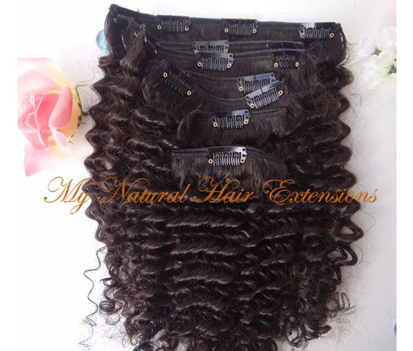 Image of Kinky Curly Weave Clip In Extensions