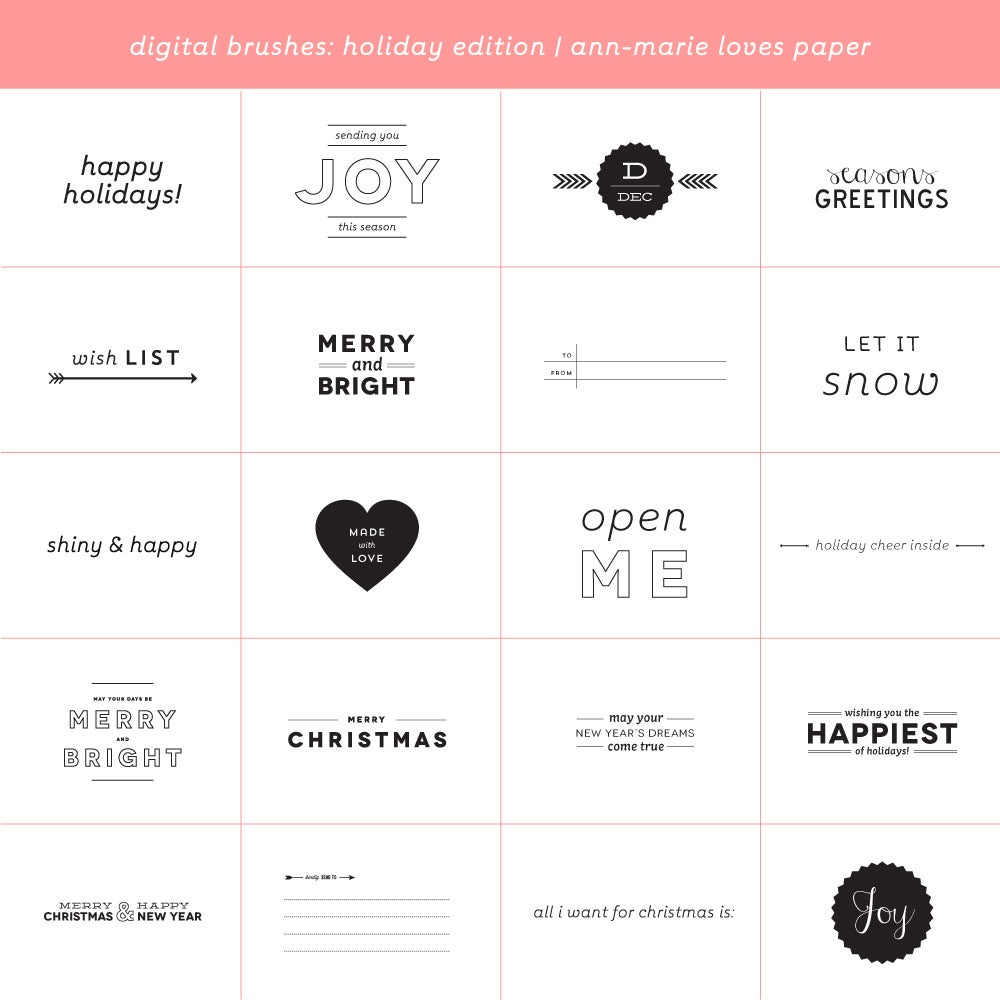 Image of Digital Brushes: Holiday Stamp Edition