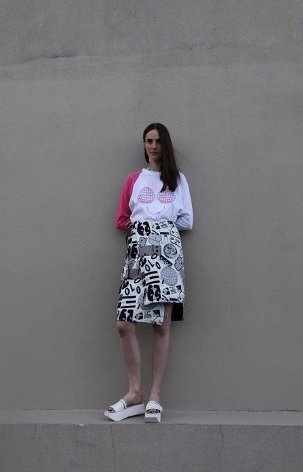 Image of Unity Wrap Skirt (reversible) - Greyscale