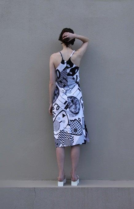 Image of Pareidolia Slip Dress - Greyscale