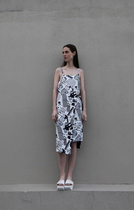 Image of Unity Wrap Dress (reversible) - Greyscale