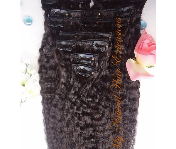 Image of Kinky Straight Clip In Hair Extensions