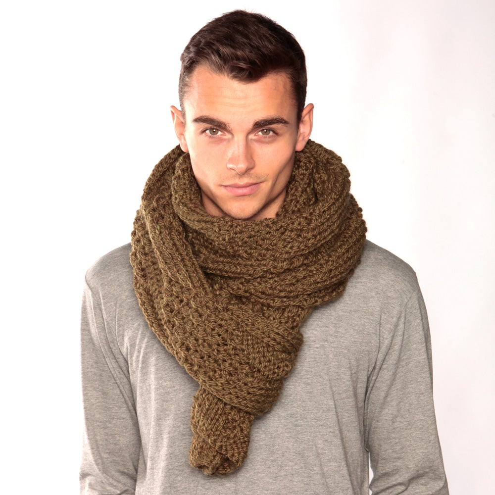 Image of Army Green Chunky Knit Scarf