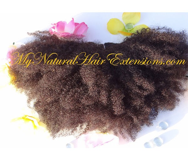 Image of Afro Kinky Curly Human Hair Extensions 4a 4b 4c