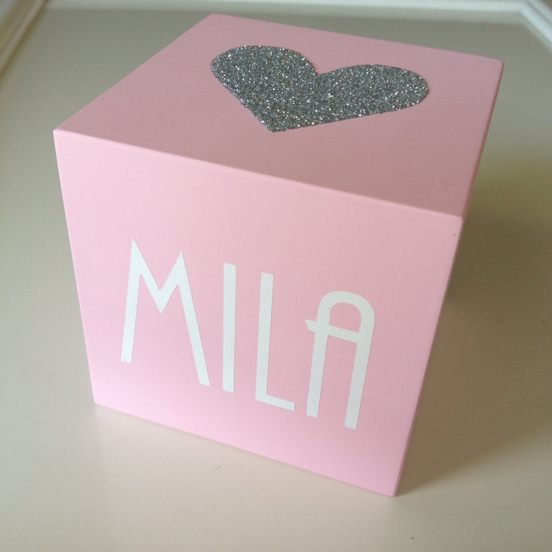 Image of 7cm Wooden NAME Cube - Personalised Monochrome Block